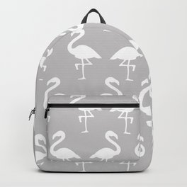 Flamingos in Gray Backpack