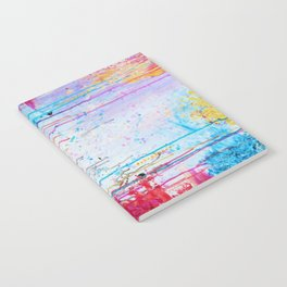 HAPPY TEARS Bright Cheerful Abstract Acrylic Painting, Drip Splat Bold Pink Red Purple Spring Art Notebook