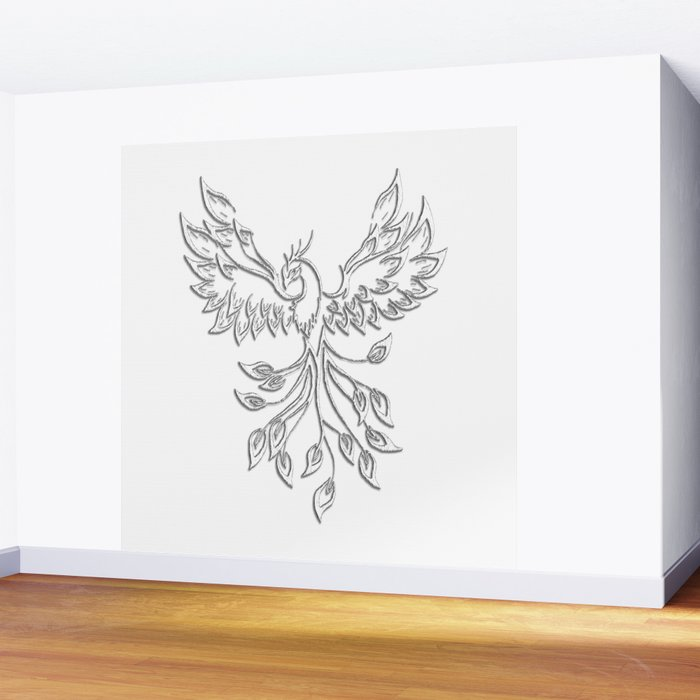 White Phoenix Wall Mural