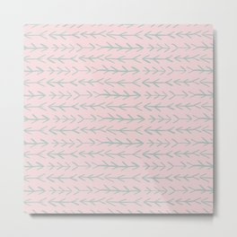 Contemporary Pink and Mint Arrow Pattern Metal Print