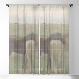 Horses in a Meadow Sheer Curtain