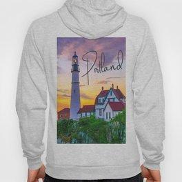Portland Lighthouse Sunrise Travel Text Print Hoody