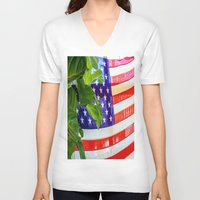 flag V-neck T-shirts featuring Flag by Jodi Kassowitz Photography