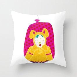 wabbit in a bag - neon version Throw Pillow