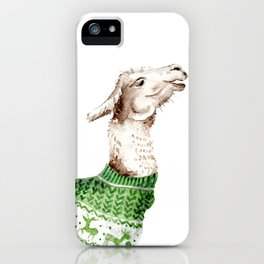 Llama in a Green Deer Sweater iPhone Case