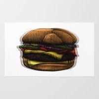 hamburger Area & Throw Rugs featuring Hungry Hamburger. by pexkung