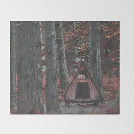 Forest Hut - Nature Photography Throw Blanket