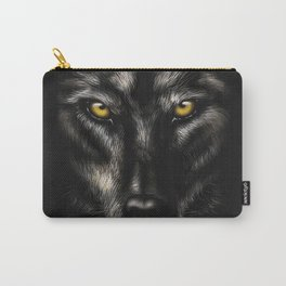hand-drawing portrait of a black wolf on a black background Carry-All Pouch