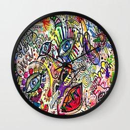 Watercolor pencil doodle Wall Clock