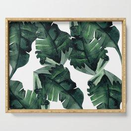 Banana Leaves Pattern Green Serving Tray