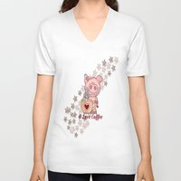 piglet V-neck T-shirts featuring Piglet Loves Coffee by DMiller