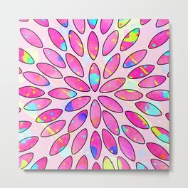 Pop Pink Splash Flower Leaves Pattern Metal Print