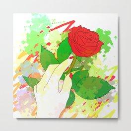 Hand And Rose Metal Print
