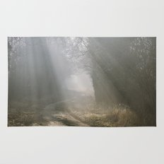 Sunlight through mist along a remote country track. Norfolk, UK. Rug