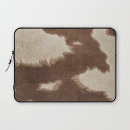 Cowhide Brown and White Laptop Sleeve