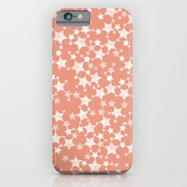 Coral and White Lino Print Stars Pattern iPhone Case