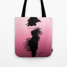 Fashion model in little black dress and pink Tote Bag