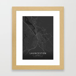 Launceston, Australia - Dark Map Framed Art Print