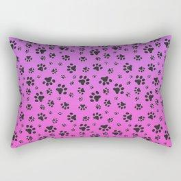 Paw Prints Pink Purple Gradient Rectangular Pillow