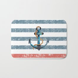 Maritime Design- Nautic Anchor on stripes in blue and red Bath Mat