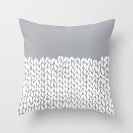 Half Knit Grey Throw Pillow