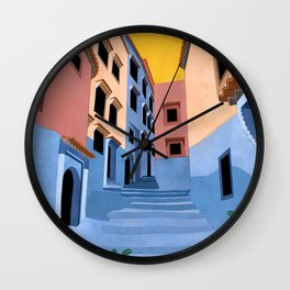 Chefchaouen - The Blue City Illustration Wall Clock