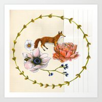 Fox in the Flowers - Flora & Fauna Art Print