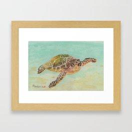 Sea Turtle Watercolor Framed Art Print