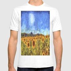 The Sunflowers Van Gogh Mens Fitted Tee MEDIUM White