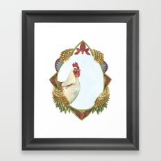 Quilted Forest // Charles the Chicken Framed Art Print