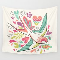 swallow Wall Tapestries featuring spring swallow by Hi-deer