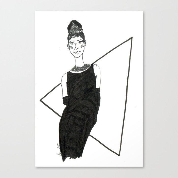Girl in a black dress Canvas Print