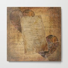Two Hearts are One - Vintage Romantic Steampunk Art Metal Print