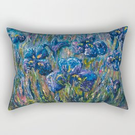 Countryside Irises Oil painting with palette knife Rectangular Pillow