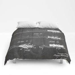 Toothbrush Patent - Bathroom Art - Black Chalkboard Comforters
