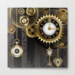 Antique Clock with Keys ( Steampunk ) Metal Print