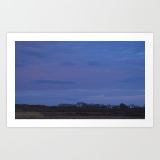 Distant farmhouse at sunset Art Print