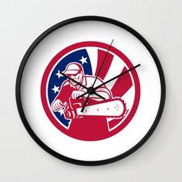 American Lumberjack USA Flag Icon Wall Clock