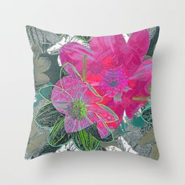 Pink and Green 11 Throw Pillow