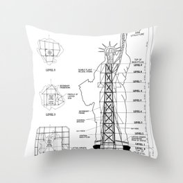Statue of Liberty Structural Schematic Throw Pillow