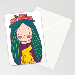 Green haired Girl & Yellow Dog Stationery Cards
