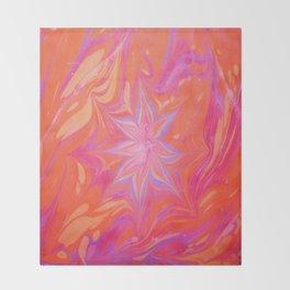 Ruby Flower Water Marbling Throw Blanket
