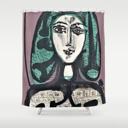 12,000pixel-500dpi - Pablo Picasso - The Woman with the Fishnet, Woman with Green Hair Shower Curtain