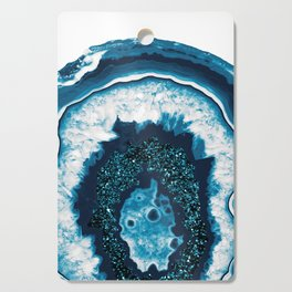 Blue White Agate with Blue Glitter #1 #gem #decor #art #society6 Cutting Board