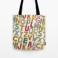 alphabet Tote Bags featuring ALPHABET by Matthew Taylor Wilson