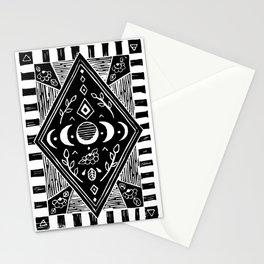 Moon phase - Black A3 linoprint Stationery Cards