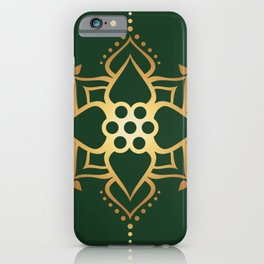 Indian Golden Lotus Harmony Mandala Pattern with Classy Green background color iPhone Case