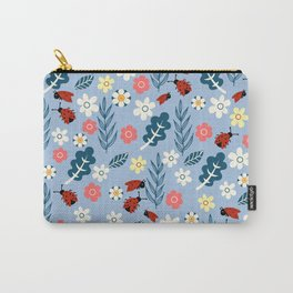 Spring meadow in bloom with ladybirds on sky blue background Carry-All Pouch