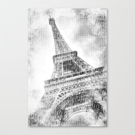 PARIS Watercolor Eiffel Tower | black and white Canvas Print