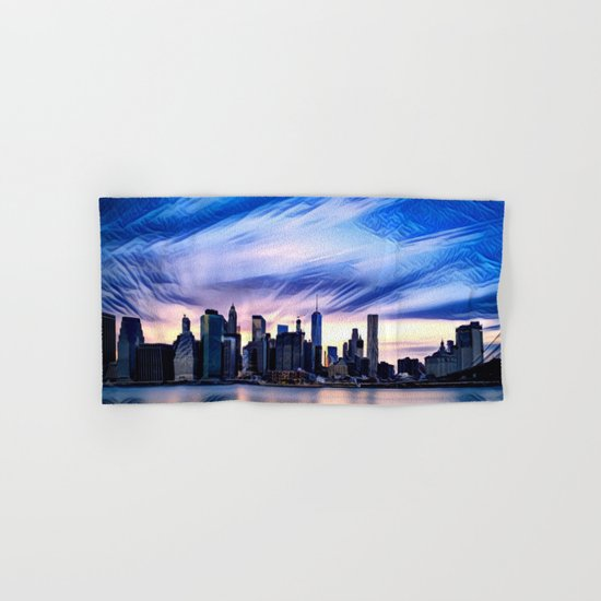 Romantic City Cityscape with Light Sunset and River Hand & Bath Towel